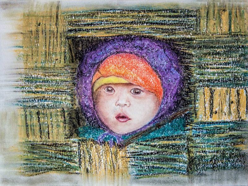 Nepalese child - pastels