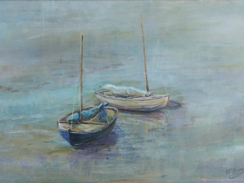 Two boats moored at sea