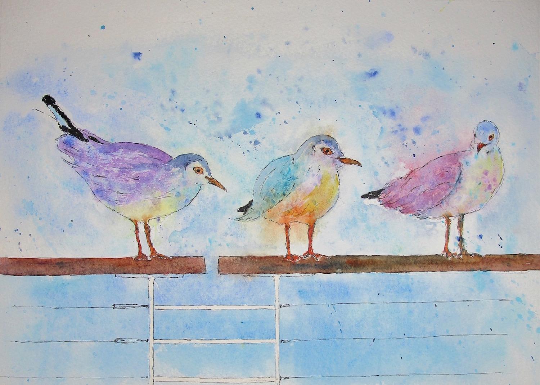 Seagulls on Hythe Promenade